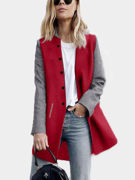 Burgundy Patchwork Color Long Sleeves Trench Coat