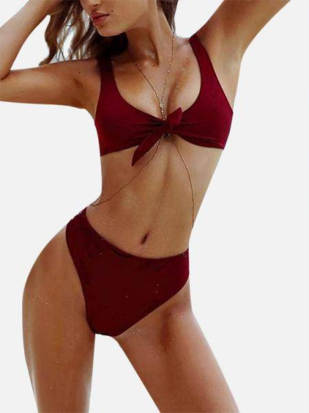 Knot at Front Two-piece Bikinis Set in Burgundy