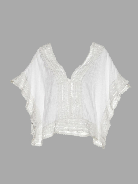 White V Neck Beach Lace Cove-up