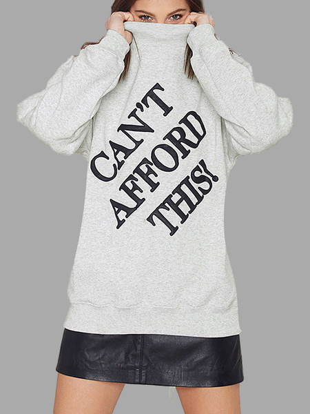 High Neck Letter Printing Sweatshirt