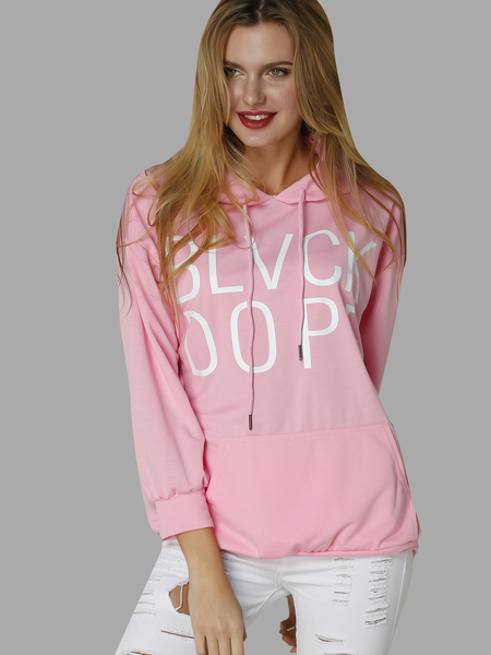 Pink Casual Long Sleeves Random Letter Print Hoodies