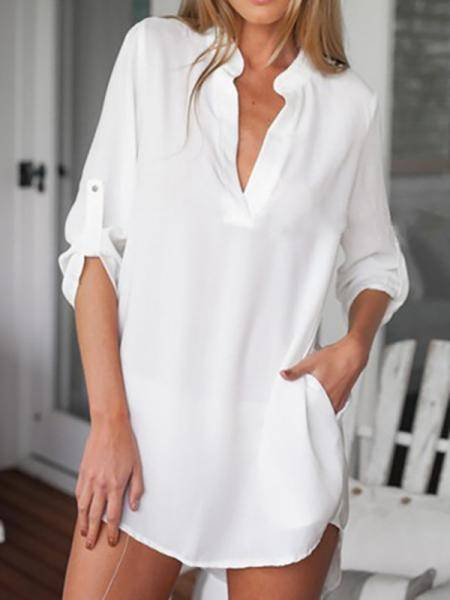 White V neck Irregular Hem Top