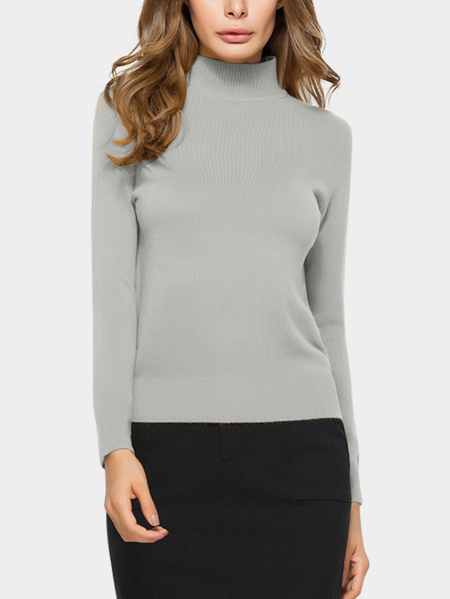 Grey Perkins Collar Knitted Thin Jumper
