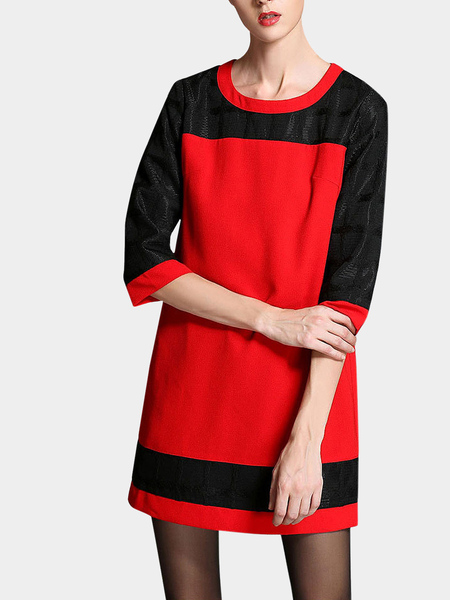 Plus Size 3/4 Length Sleeve Dress In Red And Black