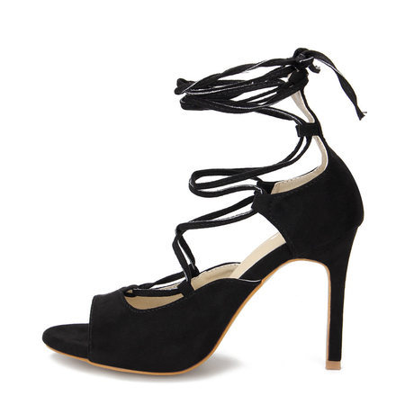 Black Crossing Strap Lace-up Ladies Heels
