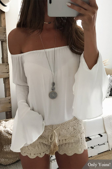 White Off The Shoulder Flared Sleeves Chiffon Top