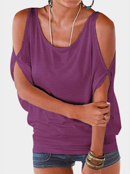 Purple Scoop Neck Cold Shoulder Tie-up at Back Tee