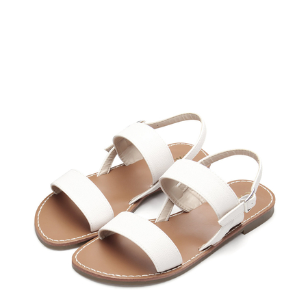 White Leather look Pin Buckle Strap Simple Flat Sandals
