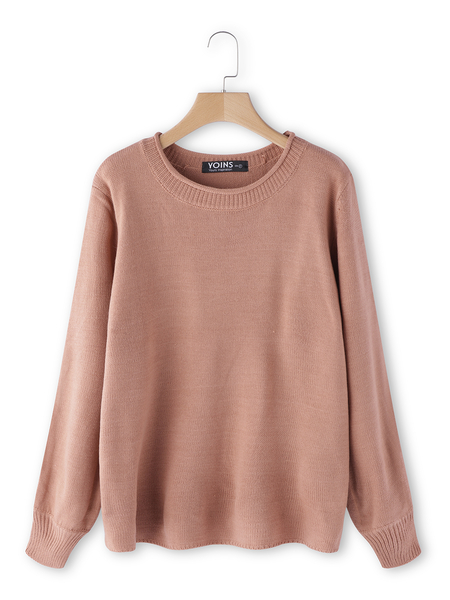 Rust Round Neck Lantern Sleeves Sweater