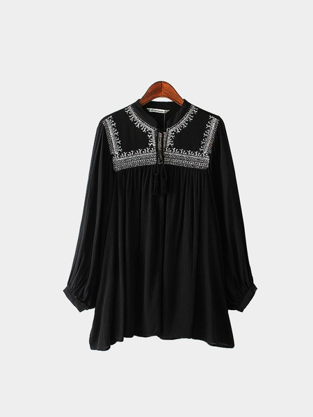 Black Tie Front Blouse With Embroidery Details