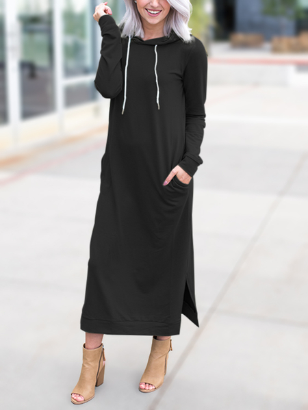 Black Slit Design Side Pockets Hooded Maxi Dress