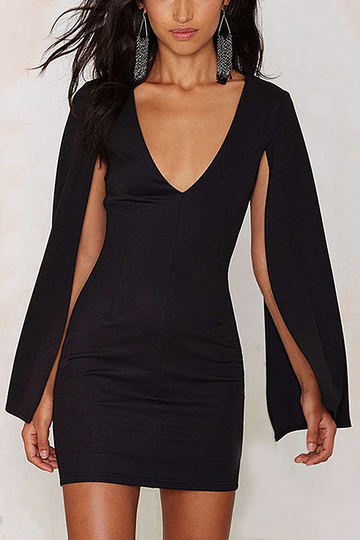 Black V Neck Mini Dress with Cape Sleeves