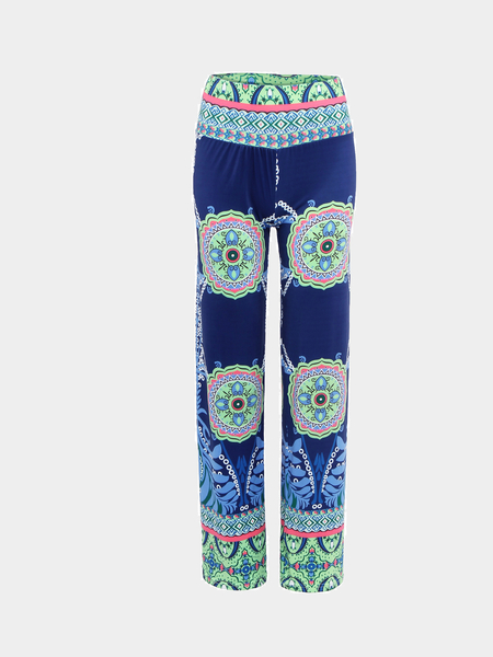 Blue Vintage Floral Straight Trousers