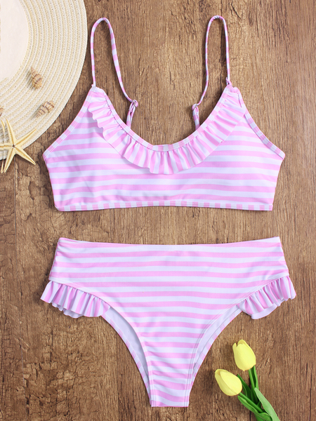 Pink & White Stripe Scoop Neck Ruffle Design Bikini