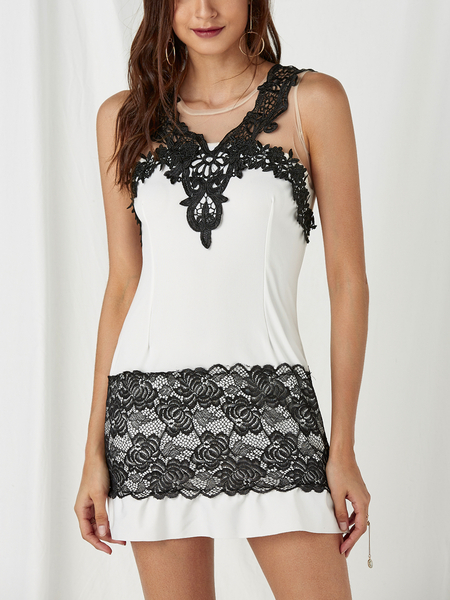 White Lace Details Round Neck Sleeveless Midi Dress
