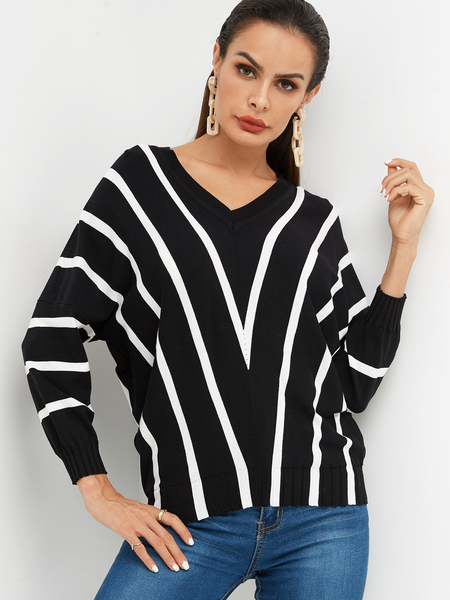 Black & White Stripe V-neck Dolman Sleeve Sweater