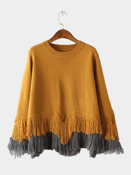 Fringed Loose Sweater in Yellow