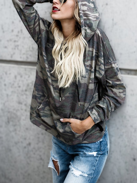 Camouflage Printed Long Sleeves Hoodie Sweatshirts