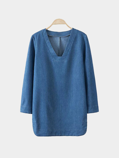 V Neck Bell Sleeve Denim Dress