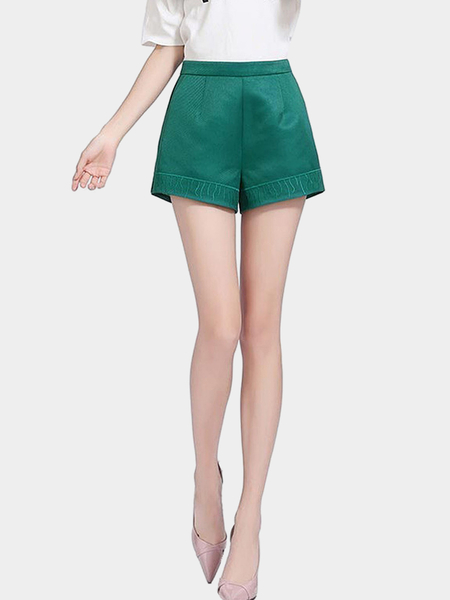 Dusty Green High Waist Shorts with Jacquard Details
