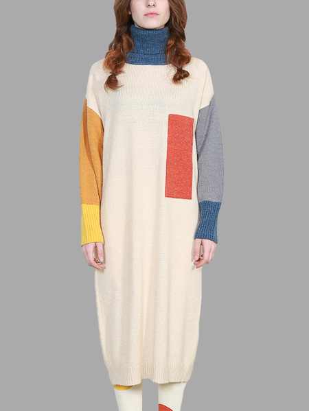 Roll Neck Mixed Colors Design Long Sweater
