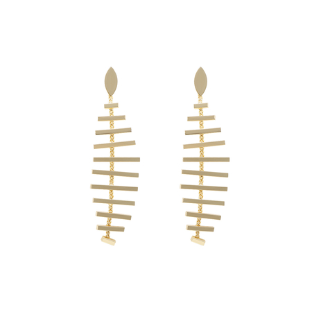 Gold Fish Bone Drop Earrings