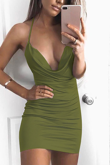 Army Green Halter Backless Bodycon Kleid