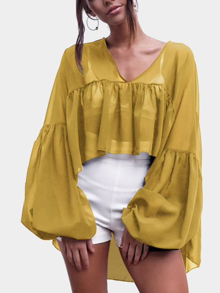 Chiffon Ruffled Design Blouse in SandyBrown