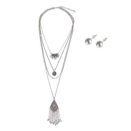Multirow Pendant Necklace & Earrings Set