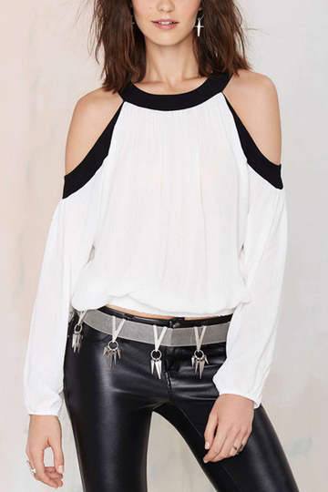 Cold Shoulder Back and White Contrast Color Long Sleeves Blouse Top