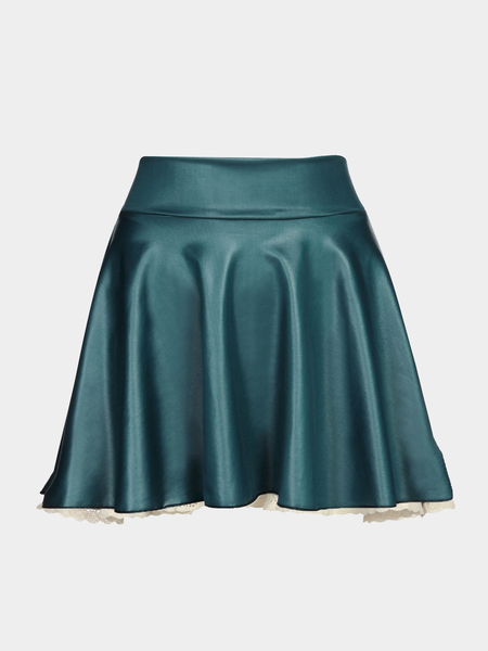 Dark Blue Leather Skater Skirt with Lace Hem