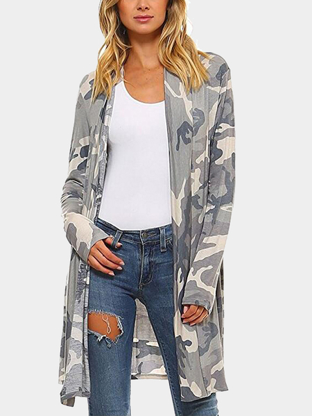 Camo Long Sleeves Irreular Hem Longline Cardigan