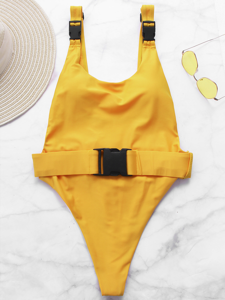 Mustard Belt Buckle Halter High Waist Monokini