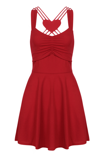 Red Sexy Cross Back A-line Mini Dress