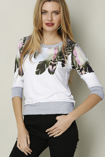 White Feather Random Floral Print Long Sleeves Top