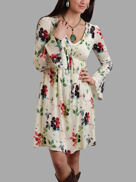 Random Floral Print V-neck High Drawstring Waist Mini Dress