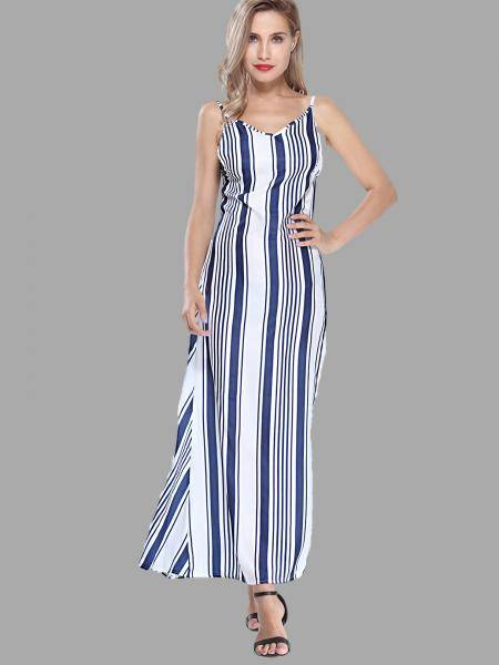 Stripe Open Back Cami Maxi Dress