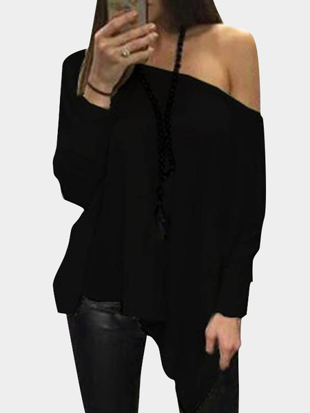 Black Oversize One Shoulder Long Sleeved Top