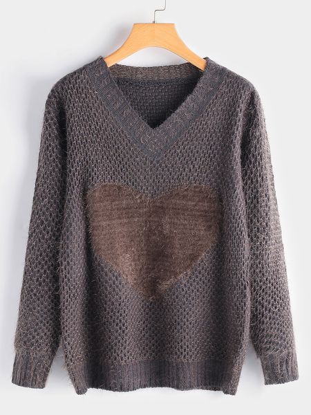 Grey Heart Pattern Round Neck Long Sleeves Knitted Sweater