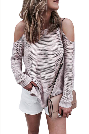 Casual Cold shoulder Long Sleeves Knitwear with Side Splited