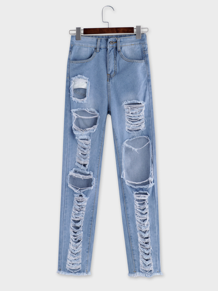 Light Blue Ripped Details Middle-waisted Jeans