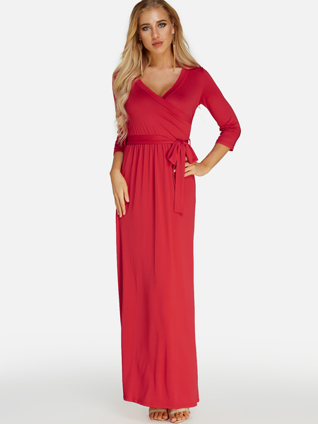Red Belt design Cross Front V-neck 3/4 Length Sleeves Maxi Wrap Dress