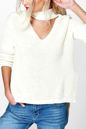 White Choker Neck V-cut Front Sweater