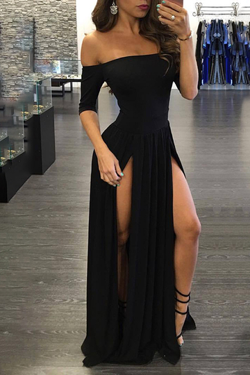 Black Sexy Off Shoulder Splited Hem Dress