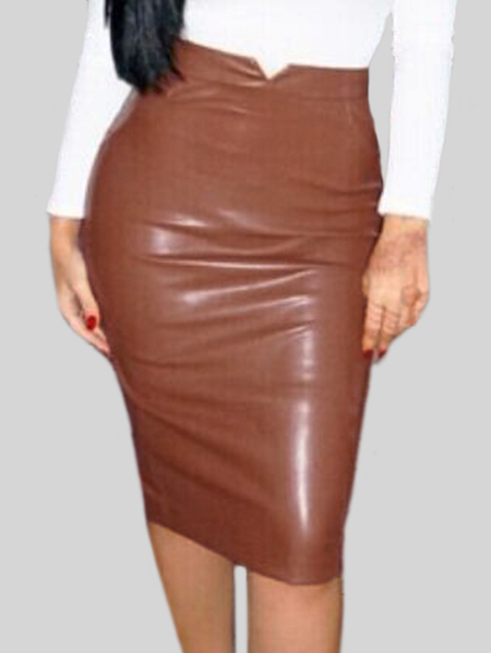 Coffee High Waist Patch PU Midi Skirts