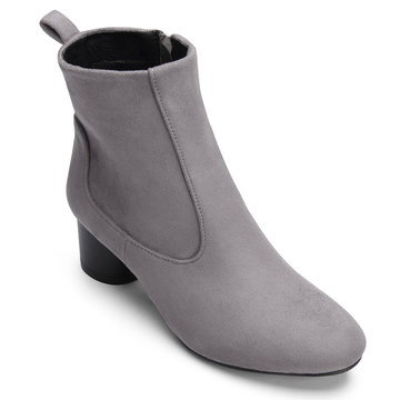 Grey Suede-look Short Boots with Side Zipper Design