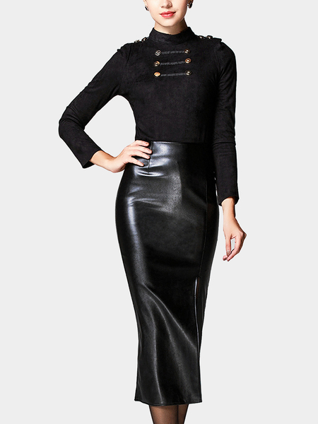 Black Leather Look Side Split Pencil Skirt