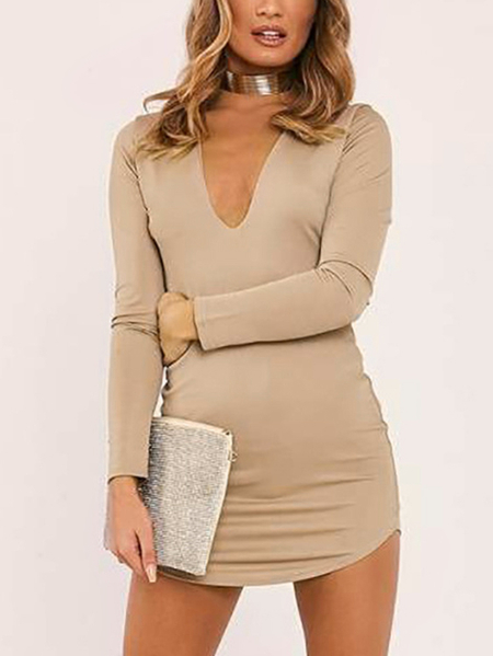 Khaki Deep V-neck Long Sleeves Curved Hem Mini Dress