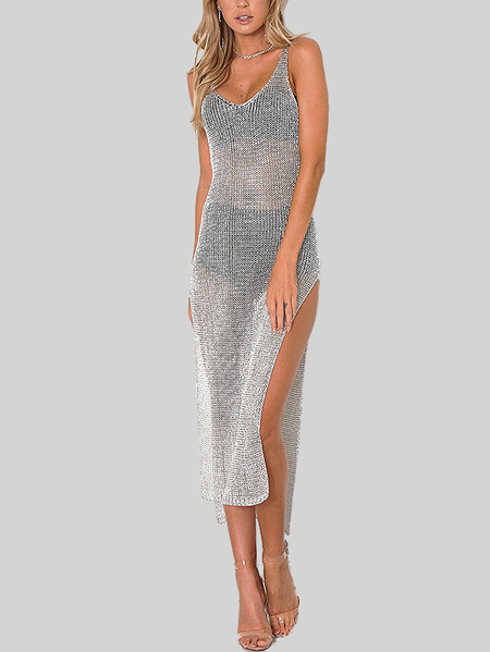 Grey See-through Backless Robe Midi avec Splitted Hem