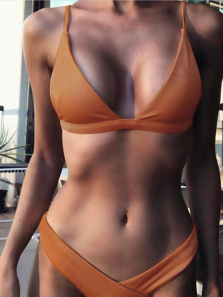 Orange Basic V-neck Triangle Bikini Set